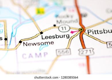 Leesburg. Texas. USA on a map