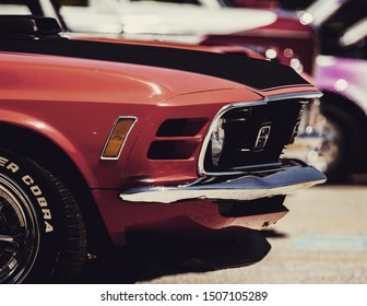 Leesburg, VA / USA - May 13, 2019: A car show in Leesburg, VA in the spring of 2019.