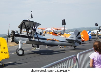 Leesburg, VA / USA - September 28, 2019: A biplane from the Flying Circus Air Show from Bealeton, VA flies at the Leesburg Air Show.
