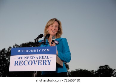 Leesburg, Virginia, USA, 17th October,  2012Barbara Comstock Delegate from Virginia (R-34) warms up the crowd at the Rally for Mitt Romney at Ida Lee Park in Leesburg  Virginia tonight.