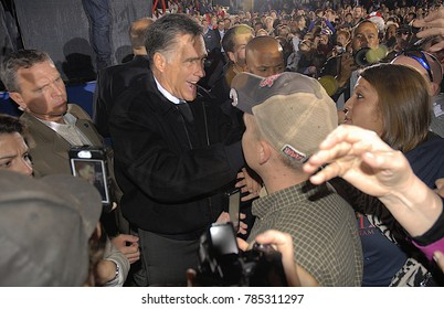 Leesburg, Virginia. USA, 17th October, 2012 Republican Presidential Candidate former Governor Mitt Romney meets, signs autographs and shakes hands with the over 5000 supporters at campaign rally