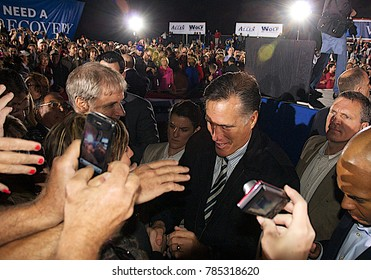 Leesburg, Virginia. USA, 17th October, 2012 Republican Presidential Candidate former Maaachusetts Governor Mitt Romney signs autographs and shakes hands with the 5000 supporters at campaign rally