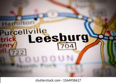 Leesburg. Virginia. USA on a map