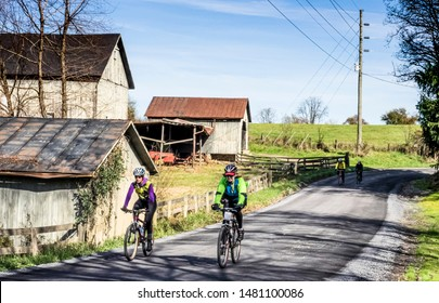 Leesburg, Virginia/USA - November 8, 2014: Cyclists on a Rural Road
