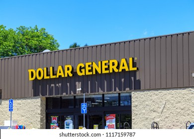 Leesport, PA, USA - June 14, 2018: Dollar General is an American chain of variety stores Headquartered in Goodlettsville, Tennessee,  Dollar General operates over 16,500 stores.