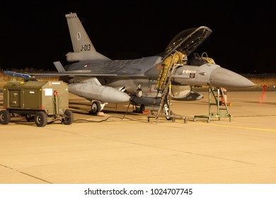Leeuwarden Feb 6 2018: Night flight Exercise. Mechanics inspecting an F-16 Fighting Falcon.