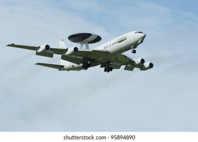 LEEUWARDEN, FRIESLAND, HOLLAND-SEPTEMBER 17: Boeing E-3 Sentry AWACS Plane makes flyby at the Airshow on september 17, 2011 at Leeuwarden Airfield, Friesland, Holland