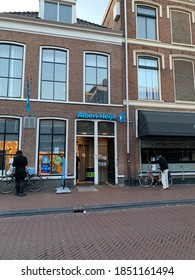 Leeuwarden, Friesland / Netherlands - November 8, 2020:  Albert Heijn (AH) grocery convenience store at Leeuwarden city centre.