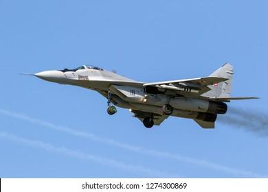 LEEUWARDEN, THE NETERLANDS - APR 19, 2018: Polish Air Force MiG-29 Fulcrum fighter jet aircraft landing on Leeuwarden airbase.