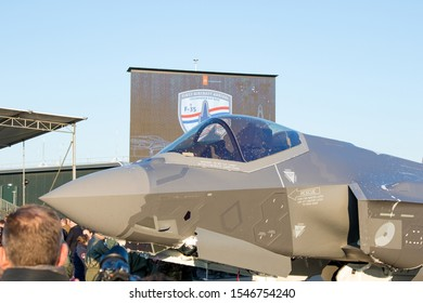 Leeuwarden, Netherlands -10 31 2019: Today was the first landing of the F-35 for the RNLAF on airbase Leeuwarden. With a ceremony and a flyby with his  predecessors it was celebrated