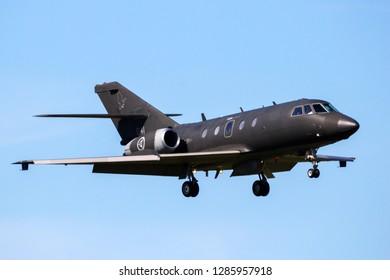 LEEUWARDEN, NETHERLANDS - APR 21, 2016: Norwegian Air Force Dassault Falcon 20 ECM electronic warfare plane landing on Leeuwarden airbase during exercise Frisian Flag.