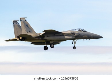 LEEUWARDEN, NETHERLANDS - APR 5, 2017: US Air Force F-15 Eagle fighter jet aircraft landing during exercise Frisian Flag.