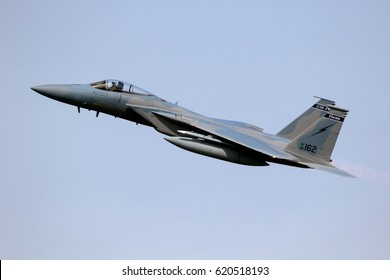 LEEUWARDEN, NETHERLANDS - APR 5, 2017: US Air Force F-15 Eagle fighter jet plane taking off during exercise Frisian Flag.