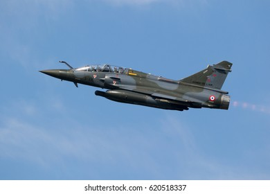 LEEUWARDEN, NETHERLANDS - APR 5, 2017: French Air Force Mirage 2000 fighter jet plane taking off during exercise Frisian Flag.