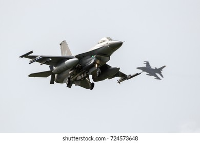 LEEUWARDEN, THE NETHERLANDS - APR 5, 2017: Royal Netherlands Air Force F-16 fighter jet planes landing during NATO exercise Frisian Flag.