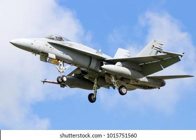 LEEUWARDEN, NETHERLANDS - APR 8, 2016: Finnish Air Force F-18 Hornet fighter jet landing during the exercise Frisian Flag.