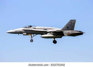 LEEUWARDEN, NETHERLANDS - APRIL 15, 2015: Spanish Air Force Boeing F/A-18 Hornet fighter jet plane landing during the exercise Frisian Flag.