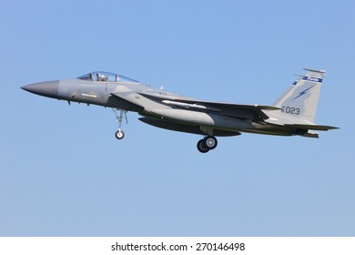 LEEUWARDEN, NETHERLANDS - APRIL 15, 2015: Florida ANG F-15 landing during the exercise Frisian Flag. The exercise is considered one of the most important NATO training events this year.