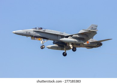 LEEUWARDEN, NETHERLANDS - APRIL 15, 2015: Spanish Air Force F-18 Hornet landing during the exercise Frisian Flag. The exercise is considered one of the most important NATO training events this year.