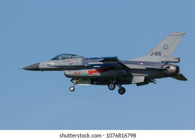 Leeuwarden, Netherlands April 18, 2018: A RNLAF F-16 during the Frisian Flag exercise