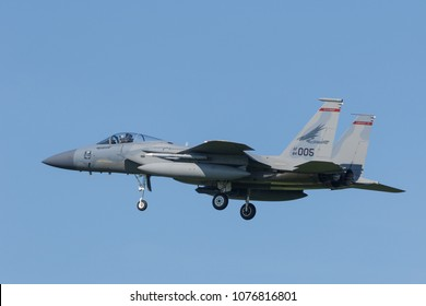 Leeuwarden, Netherlands April 18, 2018: A USAF F-15 of 142nd Redhawks Fighter Wing during the Frisian Flag exercise