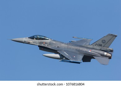 Leeuwarden, Netherlands April 18, 2018: A RNLAF F-16 during the  Frisian Flag exercise.