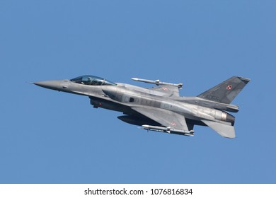 Leeuwarden, Netherlands April 18, 2018: A Polish F-16 during the Frisian Flag exercise