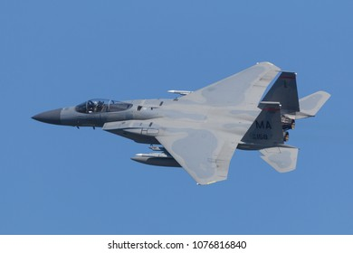 Leeuwarden, Netherlands April 18, 2018: An USAF F-15 0f the 104th Fighter Wing during the Frisian Flag exercise