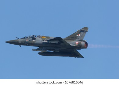 Leeuwarden, Netherlands April 18, 2018: A French Mirage 2000 taking off with after burner during the Frisian Flag exercise