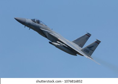 Leeuwarden, Netherlands April 18, 2018: A USAF F-15 of 142 Redhawks Fighter Wing during the Frisian Flag exercise