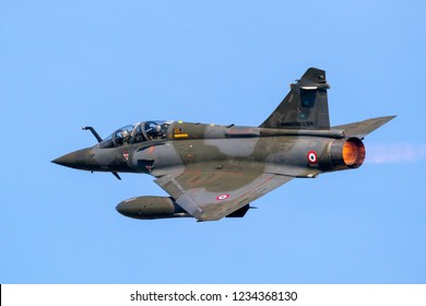 LEEUWARDEN, THE NETHERLANDS - APRIL 19, 2018: French Air Force Dassault Mirage 2000 fighter jet plane taking off during exercise Frisian Flag.