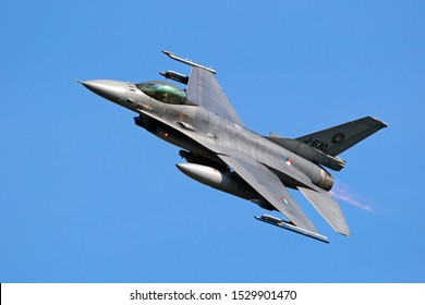 LEEUWARDEN, THE NETHERLANDS - APRIL 19, 2018: Royal Netherlands Air Force F16 fighter jet aircraft taking off during NATO exercise Frisian Flag.