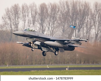 Leeuwarden, Netherlands - april 2 2019 - This US F-16 Fighting Falcon of the 148TH FIGHTER WING is participating the exercise Frisian Flag on airbase Leeuwarden.