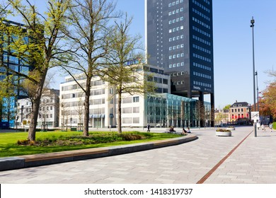 Leeuwarden, The Netherlands - April 2019. View of the square in front of the railway / bus station in Leeuwarden, The Netherlands.