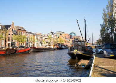 Leeuwarden, The Netherlands - April 2019. View of the Wester Stadsgracht (west city canal) seen from the Willemskade, the old wall of the Frisian city of Leeuwarden, The Netherlands.