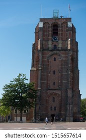 LEEUWARDEN, NETHERLANDS, August 23, 2019: Image Leaning tower Oldehove in Leeuwarden, Netherlands
