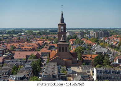 LEEUWARDEN, NETHERLANDS, August 23, 2019: Top view of the old district city Leeuwarden in Friesland, Netherlands