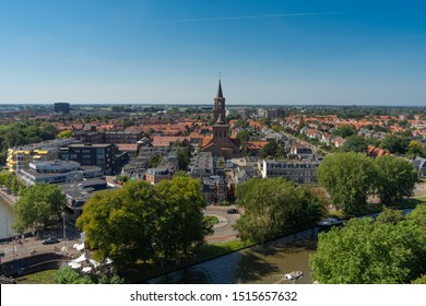 LEEUWARDEN, NETHERLANDS, August 23, 2019: Top view of the old district and canals Leeuwarden city in Friesland, Netherlands