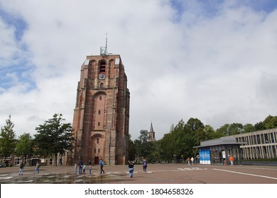 Leeuwarden, Netherlands, August 26, 2020. Oldehove Tower, is a leaning and unfinished church tower in the medieval centre of the Dutch city of Leeuwarden.