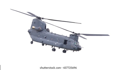 LEEUWARDEN, NETHERLANDS - JUN 11 2016: Chinook CH-47 military helicopter in action during a demonstration flight on jun 11 , 2016 in Leeuwarden