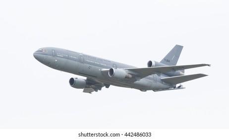 LEEUWARDEN, THE NETHERLANDS, JUNE 10, 2016: Royal Dutch Air Force McDonnell Douglas KDC-10-30CF during a demonstration at the Royal Netherlands Air Force Days