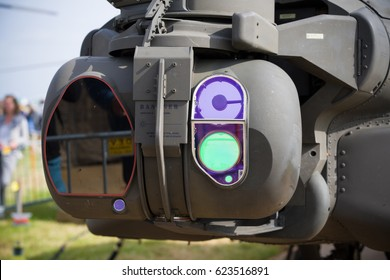 LEEUWARDEN, NETHERLANDS - JUNE 10, 2016: Night vision instruments on an apache AH-64 combat helicopter