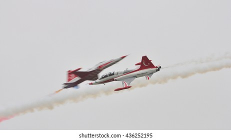 Leeuwarden the Netherlands - June 11 2016: The Turkish Stars gave a breathtaking show at the Open Days at air force base Leeuwarden