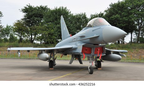 Leeuwarden the Netherlands - June 11 2016: A German EuroFighter is displayed at the static show during the Open Days at air force base Leeuwarden