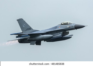 LEEUWARDEN NETHERLANDS June 11 2016: Lockheed Martin F-16AM Fighting Falcon of 322 sqn RNLAF with afterburner at Luchtmachtdagen