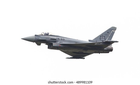 LEEUWARDEN, THE NETHERLANDS - JUNE 11: Spanish Air Force Eurofighter Typhoon flying during the Dutch Air Force Open House. June 11, 2016 in Leeuwarden, The Netherlands
