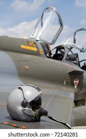 LEEUWARDEN, NETHERLANDS - JUNE 21: French Air Force Mirage 2000 helmet on display at Leeuwarden Airshow June 21, 2008 in Leeuwarden, Netherlands.