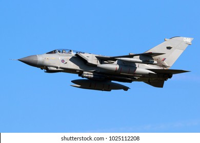 LEEUWARDEN, THE NETHERLANDS - MAR 28, 2017: British Royal Air Force Tornado GR-4 bomber jet plane in flight during NATO exercise Frisian Flag.