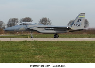 LEEUWARDEN, NETHERLANDS MAR 31 2017: USAF F-15 Eagle during the Frisian Flag exercise