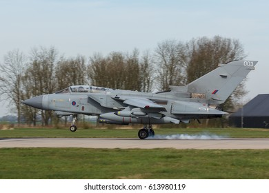 LEEUWARDEN, NETHERLANDS MAR 31 2017: RAF Panavia Tornado GR.4 during Frisian Flag exercise